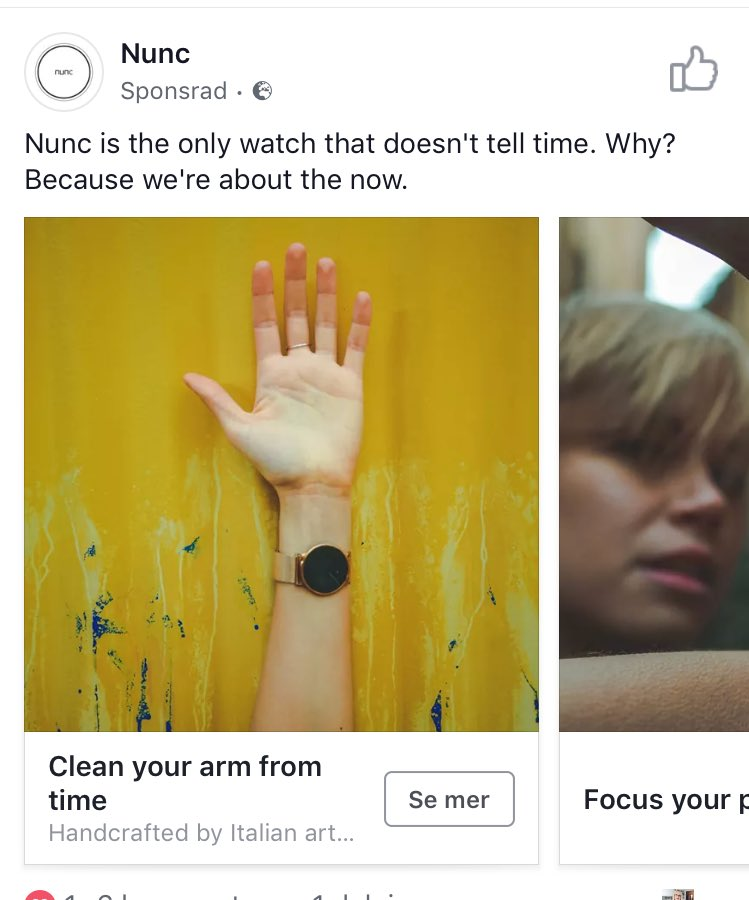 A screenshot of an ad marketers made for the Nunc Watch